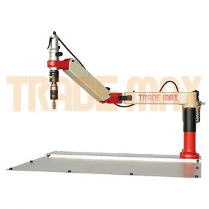 Arm for a tapping machine with one swivel point, pneumatic tapping head, air regulator and 6 x tap holders