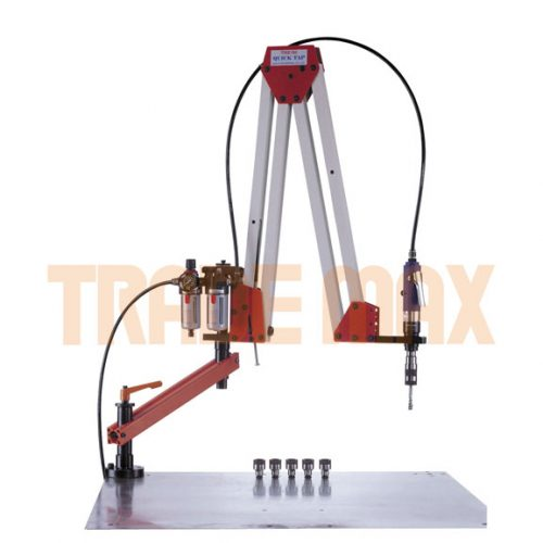 Arm for a tapping machine with two swivel points, pneumatic tapping head, air regulator and 6 x tap holders
