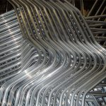 Special aluminium extrusion with four bends forming the shape of seat frame