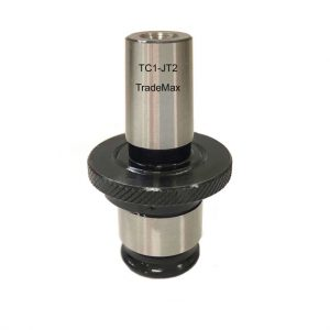 This is an image of a TradeMax drill chuck adaptor TC1-JT2. A reducing adaptor attaches to the top and the drill chuck attaches to the bottom.