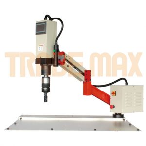 Tapping arm with an electronically controlled electric tapping head. The arm keeps the tapping head perpendicular to the working surface.