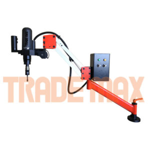 Tapping arm with an electric tapping head. The arm keeps the tapping head perpendicular to the working surface.