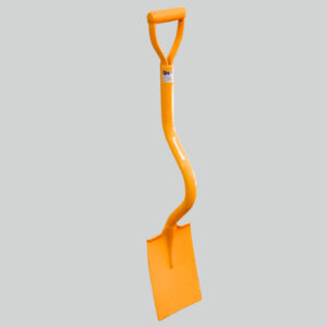 Ergonomic shovel with short bent shaft. General purpose with square blade