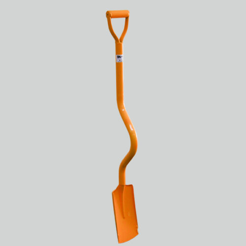 Ergonomic shovel with bent shaft, Has a square blade that is re-inforced on the side near the edge