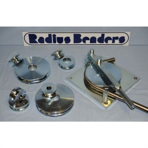 Image of the Radius Hand Bender set showing the base, handle and five sets of dies.
