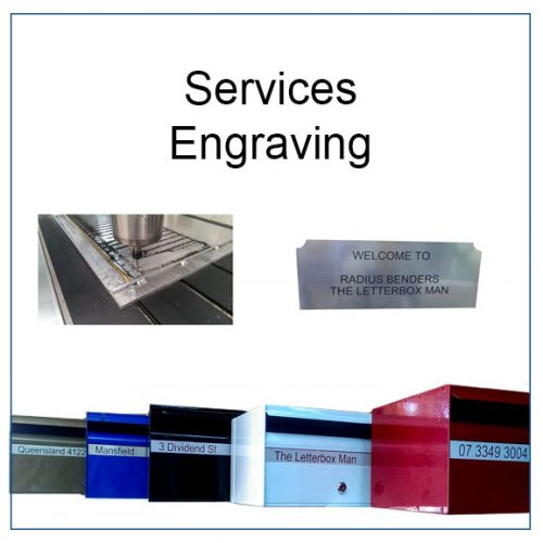 This is an image of our catalogue tile for engraving into plastic service. It features the engraver machine, a sign and a row of letterboxes with engraved strips.